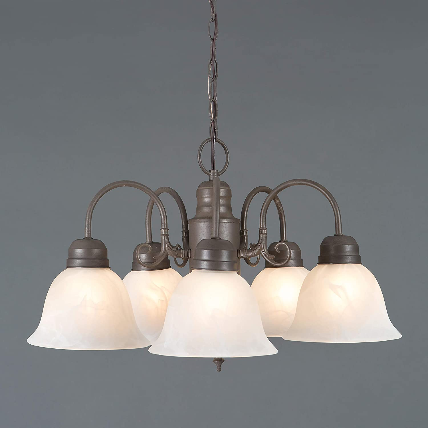 Yosemite Home Decor 1435-5DB Manzanita 5 Light Chandelier, Frosted White Marble Glass Shades, Dark Brown Finished Frame