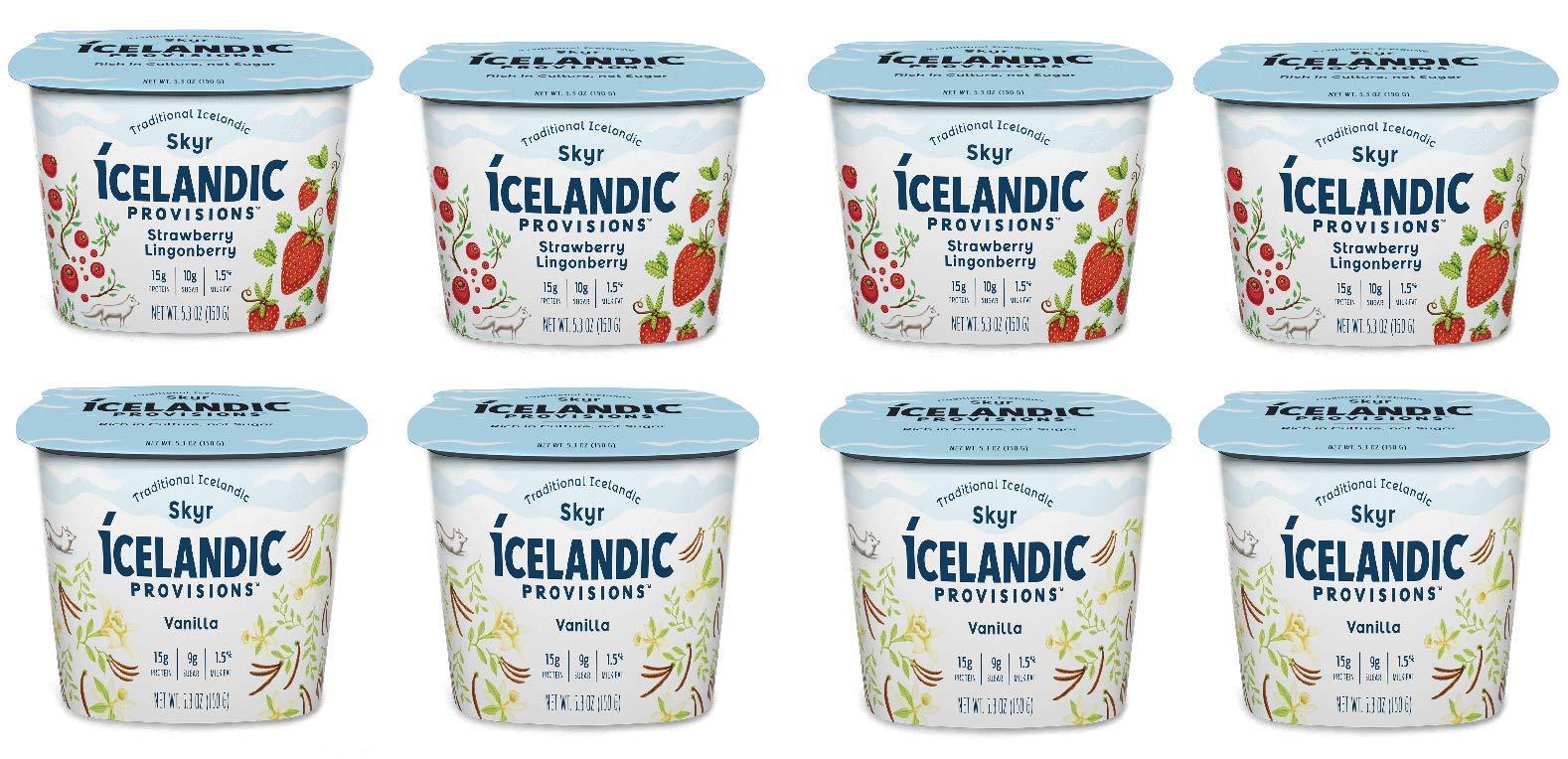 Icelandic Provisions, Skyr Yogurt, 2 Flavor Variety Pack (Pack of 8)