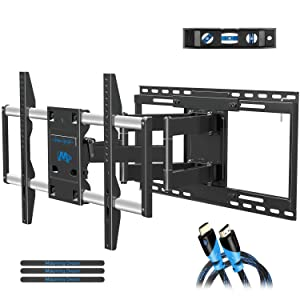 """Full Motion TV Mount with TV Centering Design for Most 42-70 Inch TVs, Swivel Articulating TV Wall Mount with 19"""" Extension - Max VESA 600x400mm, Mounting Dream MD2198"""