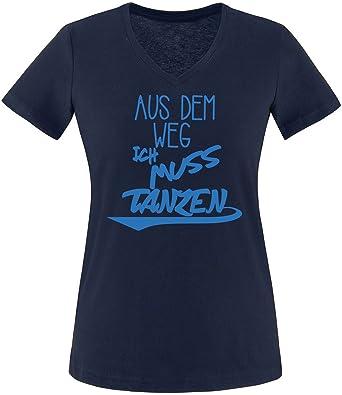 ezyshirt Aus dem Weg ich muss Tanzen Damen V-Neck T-Shirt