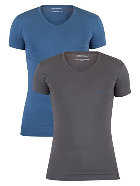 Emporio Armani Hombre 2 Paquete con cuello en V camiseta del logotipo, Azul, X