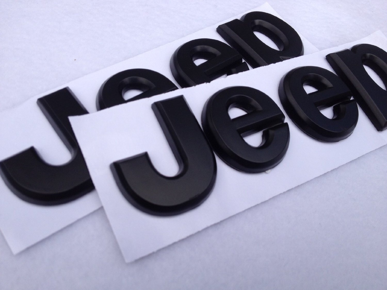 2PCS Flat Matte Black JEEP Emblem Logo Stickers Cherokee Wrangler Unlimited by JGCParts