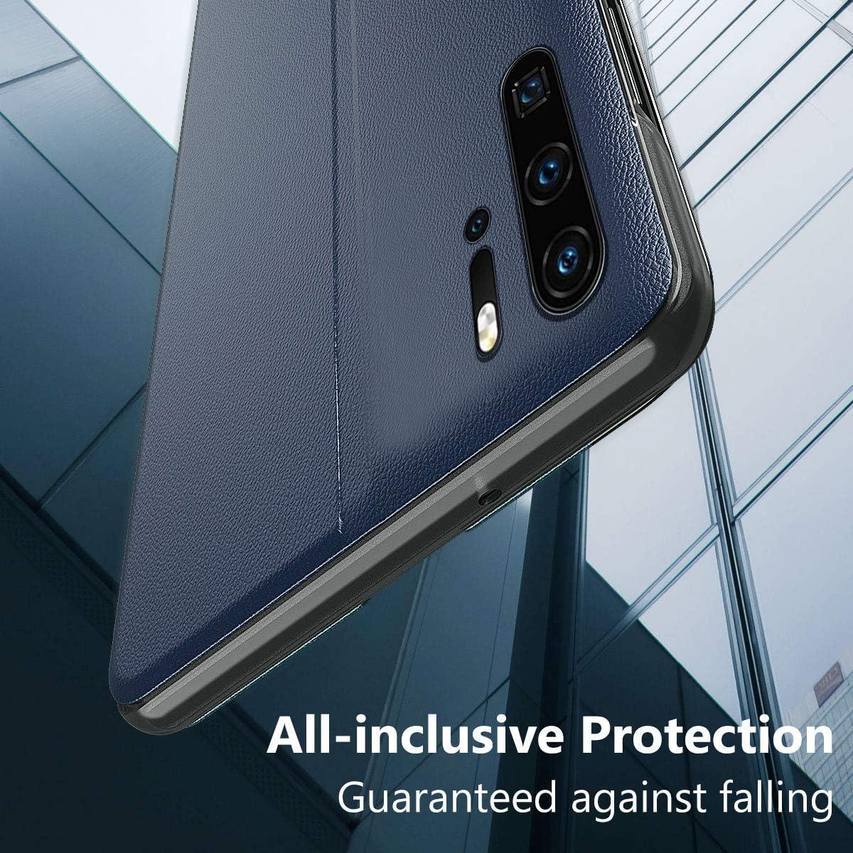 funda de piel original de color azul Funda para Huawei P20 Pro Smart View con funci/ón atril y cierre magn/ético de silicona transparente Oihxse