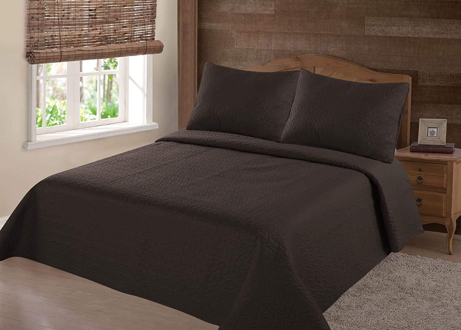GorgeousHomeLinen (NENA) Brown Coffee Solid Hypoallergenic Quilt Bedspread Bed Bedding Coverlets Cover Set with Pillow Cases Size inc: Twin (2pc) Full Queen King (3pc) (Queen)
