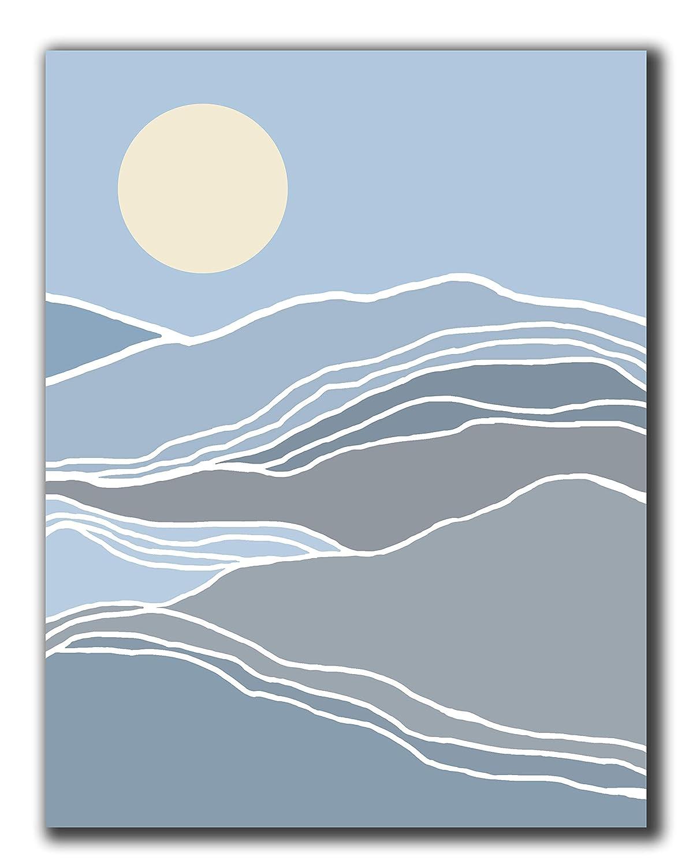 "Abstract Blue And Grey Mountains And Sun Boho Wall Art - 11x14"" UNFRAMED Print - Modern Minimal Wall Decor - Scandinavian, Nordic Wall Print"