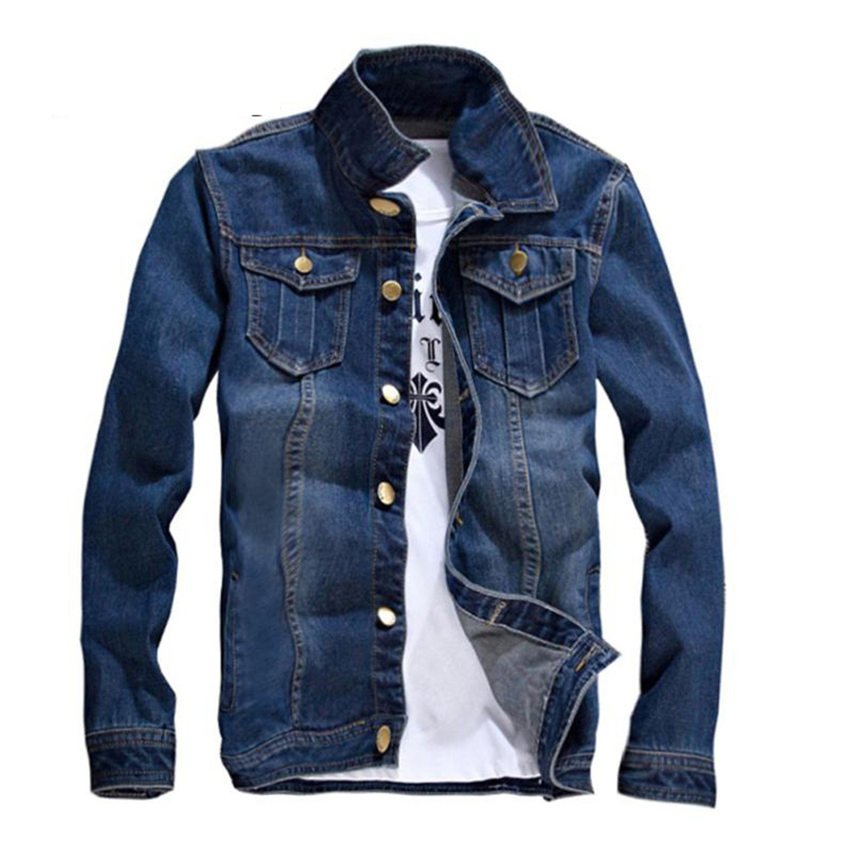 Feroni Casual Slim Fit Mens Denim Baseball Jacket Men Long Sleeve Mens Cowboy Outwear Jean Jacket Chaqueta Hombre Blue XXL at Amazon Mens Clothing store: