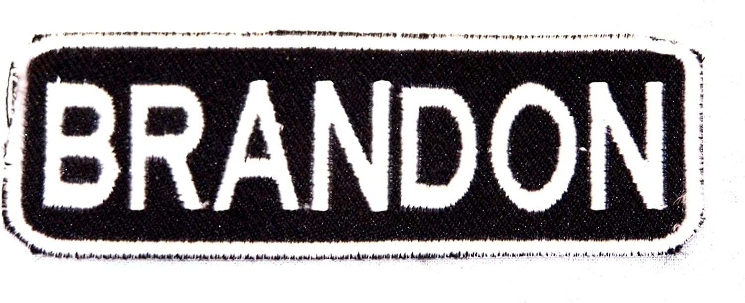 BRANDON White on Black Iron on Name Tag Patch for Motorcycle Biker Vest NB203