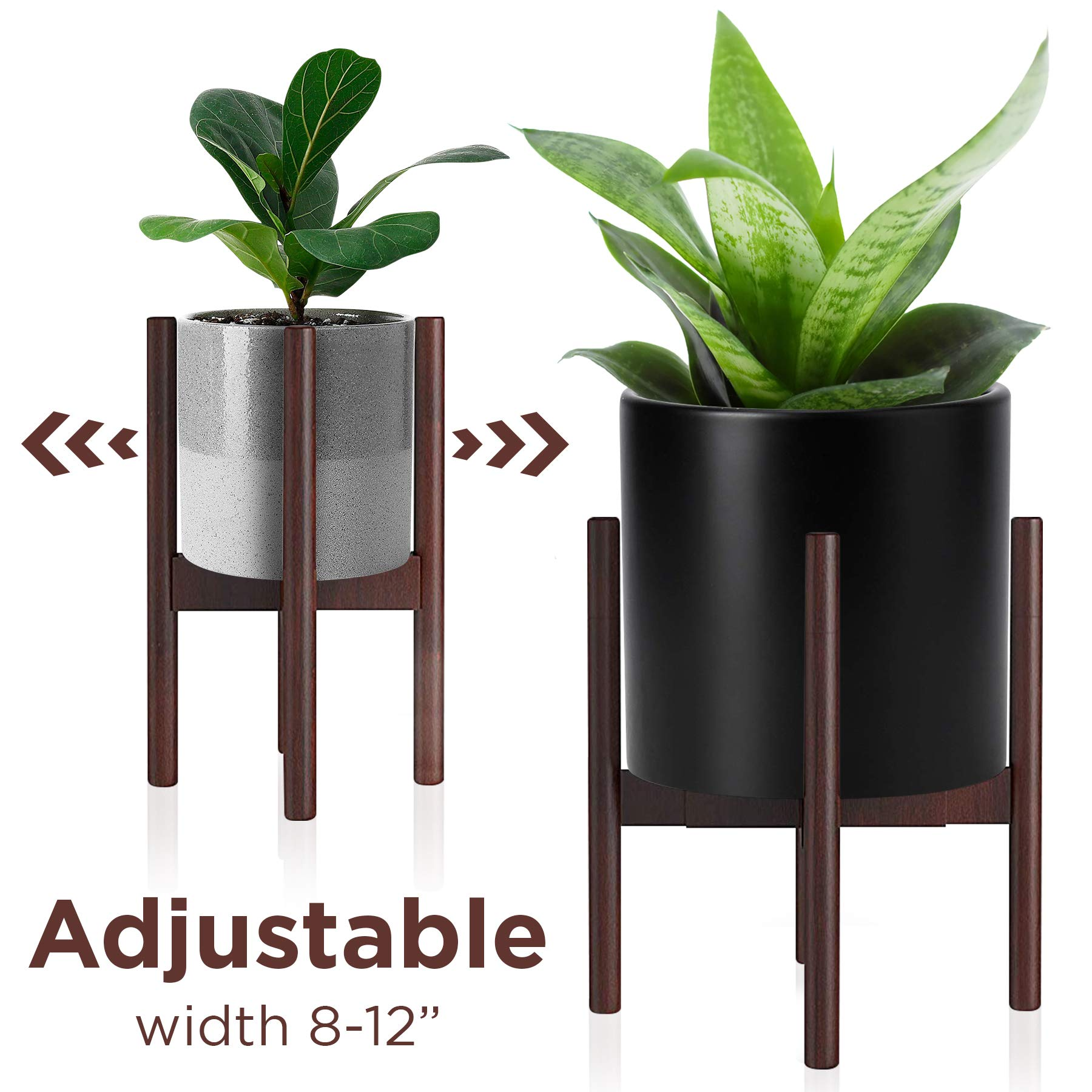 Adjustable Wood Plant Stand Mid Century Modern for Indoor Outdoor Planters, Flower Pot, Plant Holder (Plant and Pot NOT Included) by Plarame