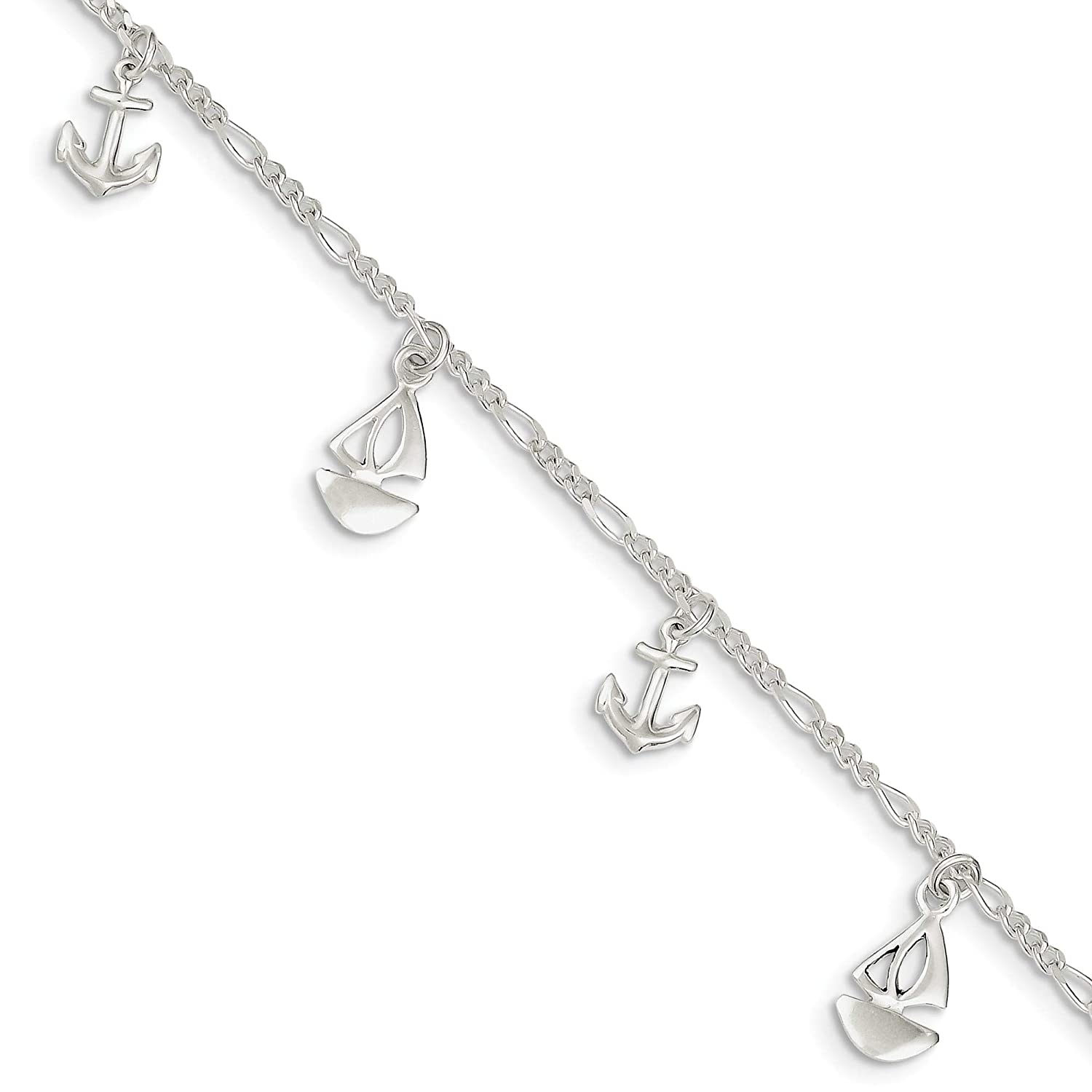 Anklet Sterling Silver Polished Boat and Anchor w// 1in ext