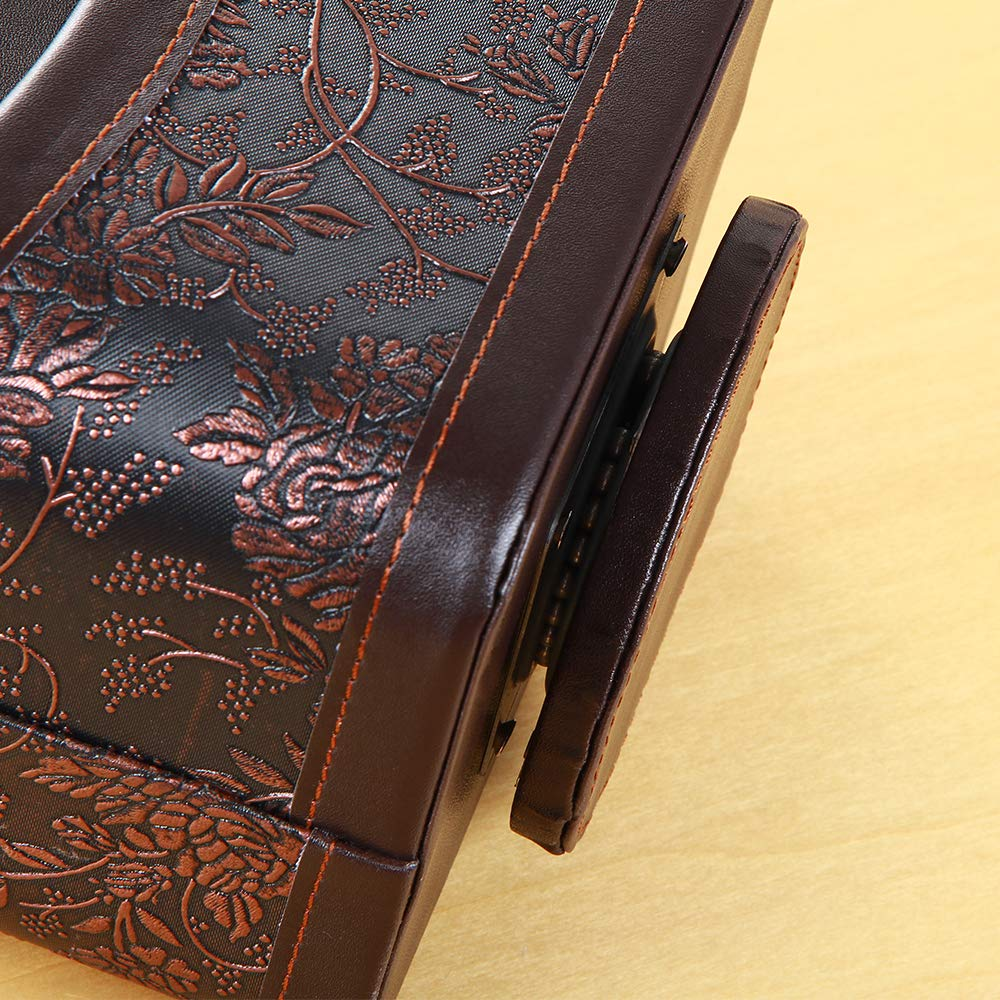 YAPISHI PU Leather 360 Degrees Rotatable Organizer Remote Control/Controller Organizer, Spinning TV Guide/Mail/Media Desktop Organizer Caddy Holder (Brown Embroidery) by YAPISHI (Image #4)