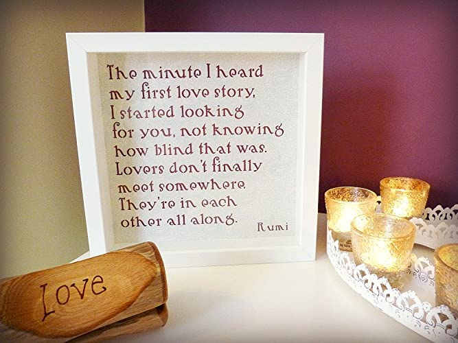 Amazoncom Handmade Framed Rumi Love Quotation The Minute I Heard