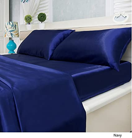 Lovely Luxury Solid Color 4 Piece Satin Bed Sheets Set   Silky Smooth, Super Soft