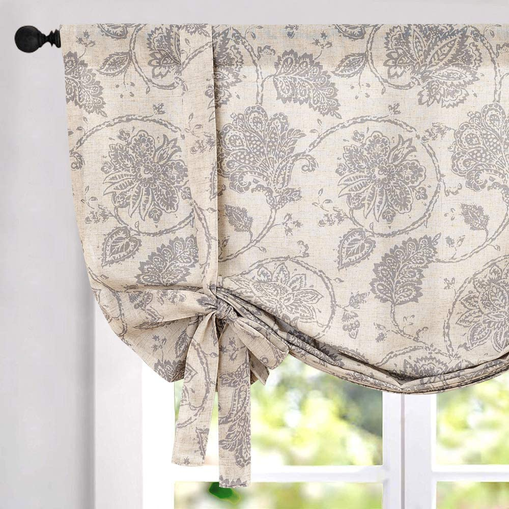 Tie Up Curtains for Windows Linen Textured Adjustable Tie-up Shade for Kitchen Rod Pocket Medallion Design Rustic Jacobean Floral Printed Tie-up Valance (1 Panel 63 Inches Grey)…