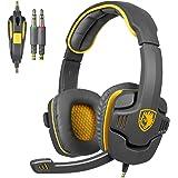Sades SA708 3,5 millimetri audio surround Stereo PC Gaming Headset fascia cuffie con il microfono di controllo Over-the-Ear Volume (giallo)
