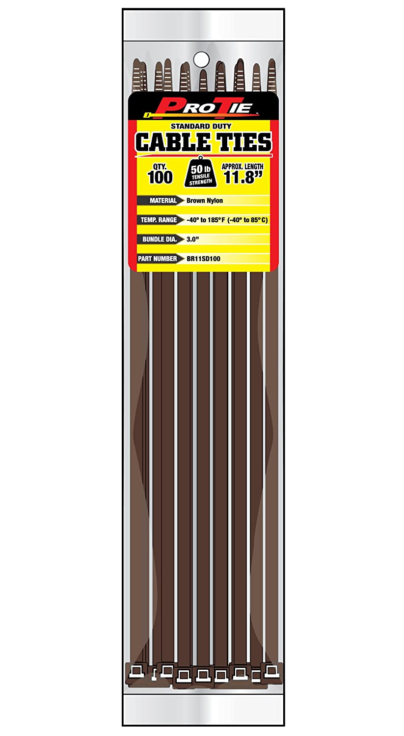 Pro Tie BR11SD100 11.8 Inch Brown Standard Duty Color Cable Tie Brown Nylon 100 Pack