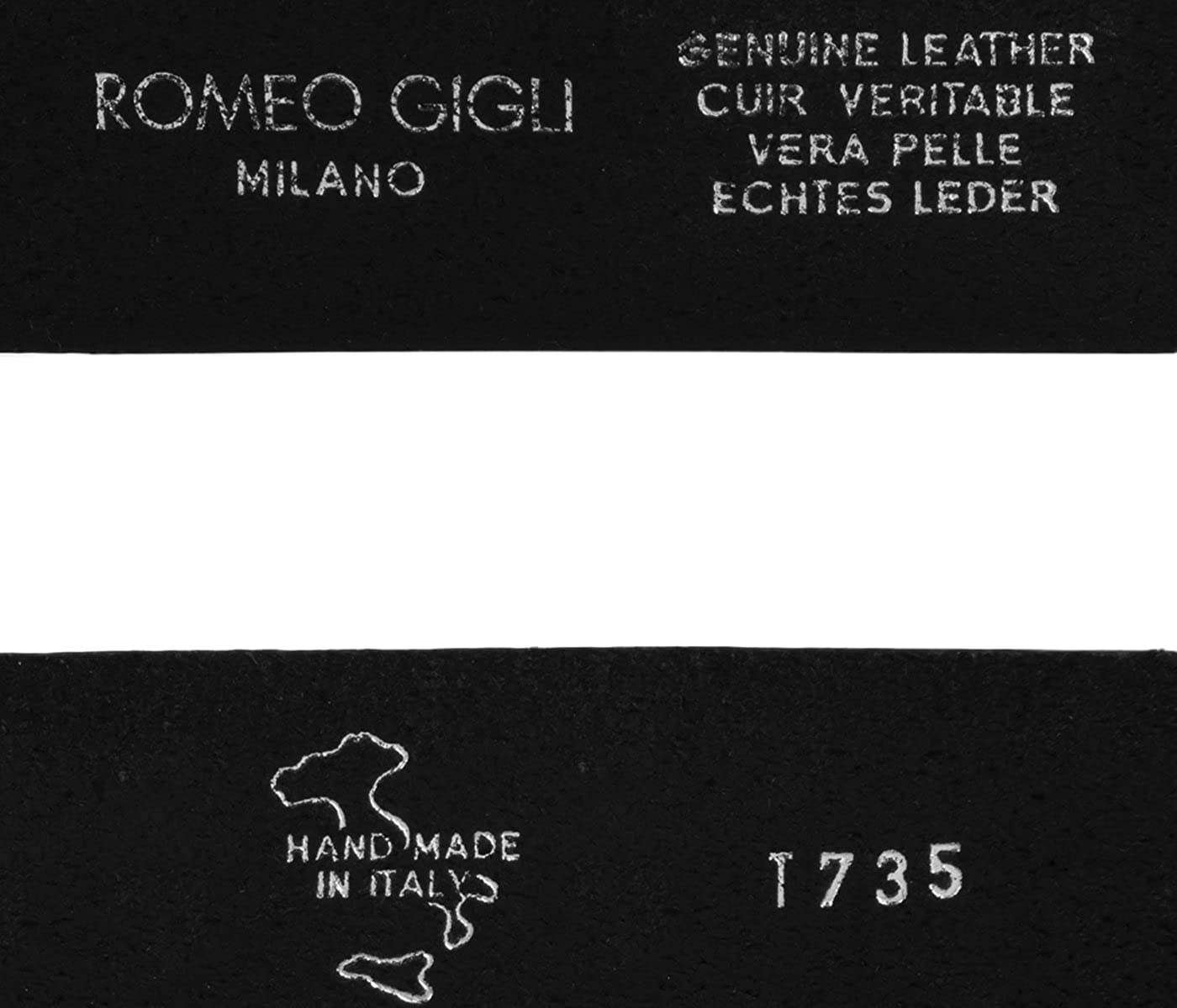 Romeo Gigli T735//35 NERO Black Distressed Leather Adjustable Belt for mens