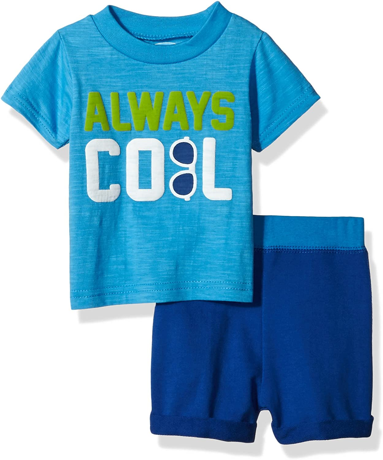 Bon Bebe Baby Boys 2 Pc French Terry Set with Short Sleeve Top
