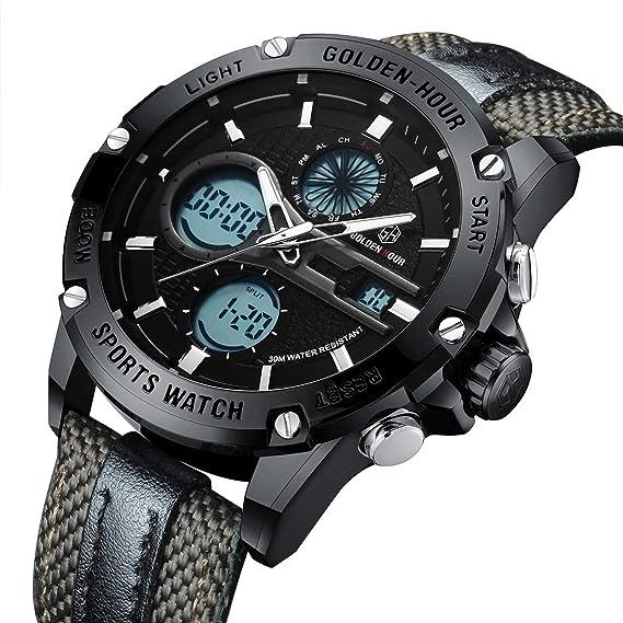 Reloj de Pulsera Deportivo Digital analógico de Cuarzo para Hombre, Estilo Militar, LED, Resistente al Agua, Casual, Color Negro: Amazon.es: Relojes