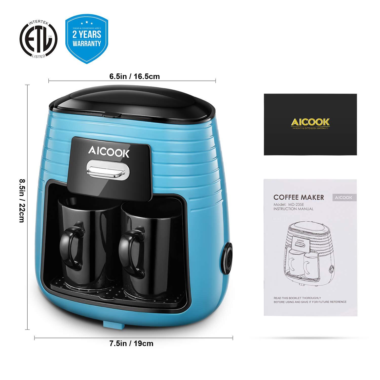 Aicook Cafetera de Goteo, Mini Cafetera Portátil con Diseño Compacto, Cafetera de Filtro con Tecnologia de Preparación Rápida, Equipado con 2 Tazas de ...