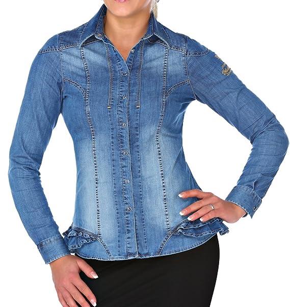 M.Conte Women Shirt Camisa Blusa Manga Largos Para Mujer Camisa De Mezclilla Modelo Larissa