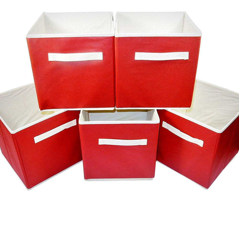 Set of 5 - Folding Storage Cube- Red Fabric, For Home, School, Office