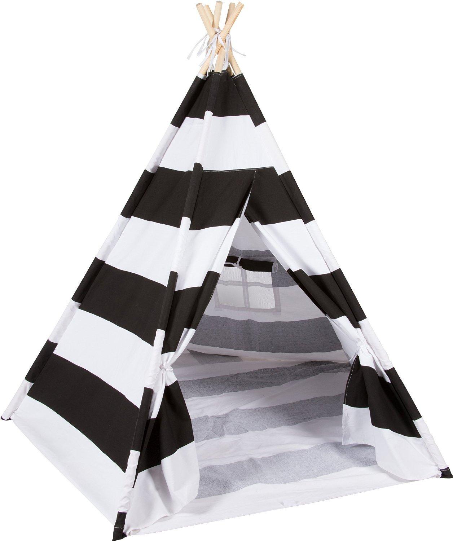 DalosDream Schwarze Streifen Indische Baumwolle Kinder Tipi Spielzelt