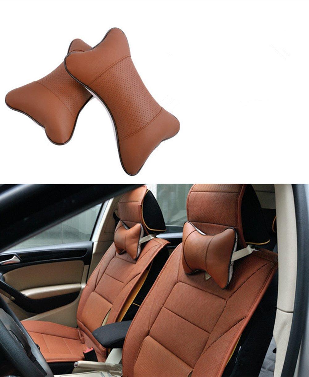 Katech 2 pièces de oreillers tour de cou pour auto appuie tête respirant support de cou Coussin ergonomique coussin de nuque confortable de voiture Oreiller de voyage