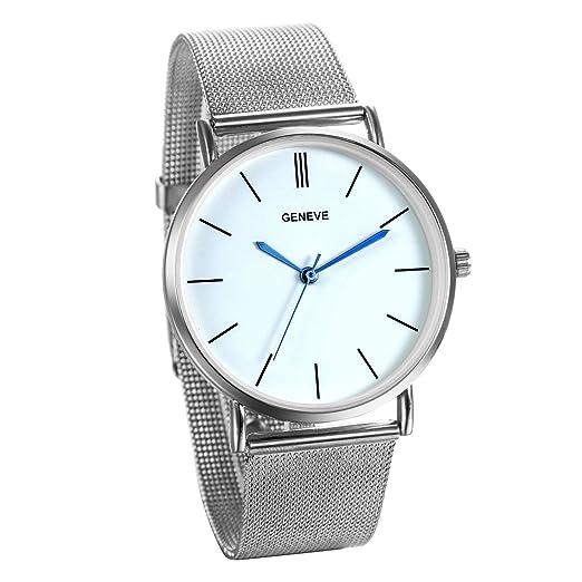 JewelryWe Reloj Plateado Para Hombre Caballero, Grande Reloj Cuarzo Analógico Correa de Acero Inoxidable Milanesa