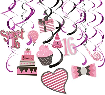12 Stylish Black Pink Birthday Party Add An Age Any Hanging Swirls Decorations