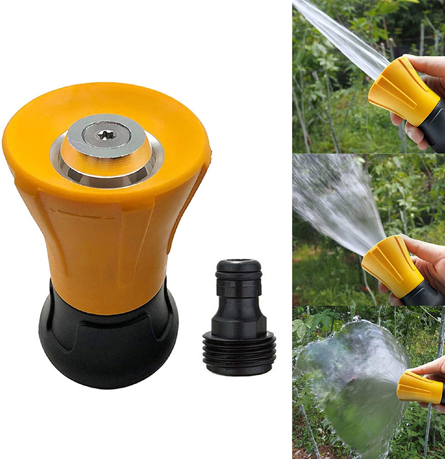 m·kvfa Garden Hose Nozzle Water Spray High-Pressure Spray Nozzle Sprinkler Adjustable for Hand Watering Plants Lawn Car Washing Patio and Dog