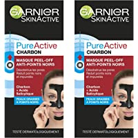Garnier Pure Active Charbon Masque Peel-Off Anti-Points Noirs 50 ml - Lot de 2
