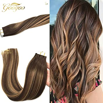 Amazon googoo 20pcs 50g tape in ombre hair extensions googoo 20pcs 50g tape in ombre hair extensions caramel blonde remy human hair extensions medium brown pmusecretfo Image collections