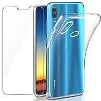 """Coque Huawei P20 Lite Transparente + Verre trempé Écran Protecteur, Leathlux Souple Silicone Étui Protection Bumper Housse Clair Doux TPU Gel Case Cover pour Huawei P20 Lite 5.84"""""""