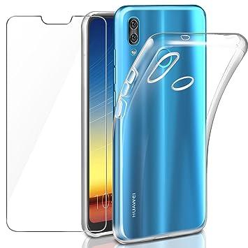 Leathlux Funda + Cristal para Huawei P20 Lite, Transparente P20 Lite TPU Silicona [Funda+Vidrio Templado] Protector de Pantalla 9H Dureza HD Flexible ...