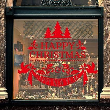 Darringls Navidad Decoración de Pared,Pegatinas de Ventana Papá Noel Retro Pegatinas de Pared Copo. Pasa ...