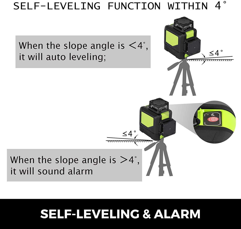 Chrisun Niveau Laser Crois/é Laser Rotatif Rouge HP-902CR 8 Lignes Laser 360/° Laser Rotatif Laser Level 3D Kit Rotatif De Nivellement Automatique