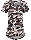 HaoDuoYi Womens Camo Camouflage Jersey Longer V Neck Top Tee T Shirt