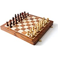Hebrik™ Strong Folding 100% Standard Materials and Smooth Surface Wooden Travel Chess Set with Folding Chess Board Educational Toys for Kids and Adults