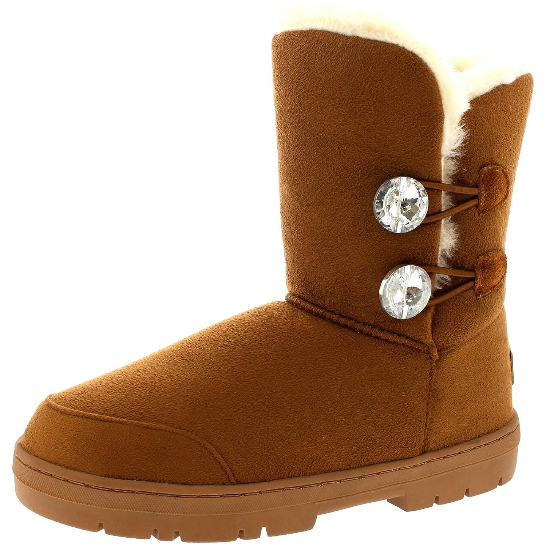 Womens Twin Diamond Button Short Fur Waterproof Winter Rain Snow Boots
