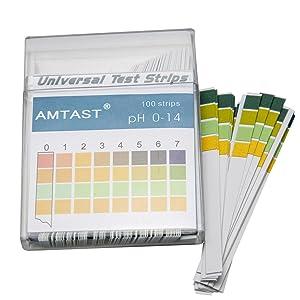AMTAST Universal pH Test Strips Acid Alkaline pH Level Test Strips, Full pH Range 0 – 14 (100 Strips)