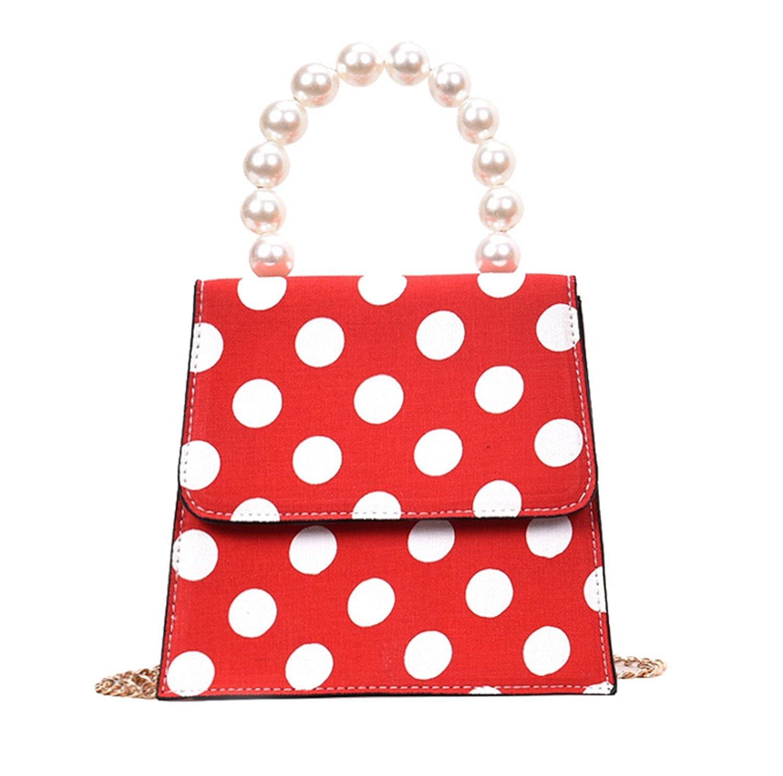 Skyseen Polka Dot Tote Bag Top Handle Handbag Shoulder Bag with Pearl Handle  Red  Handbags  Amazon.com 6daf0b4899da9