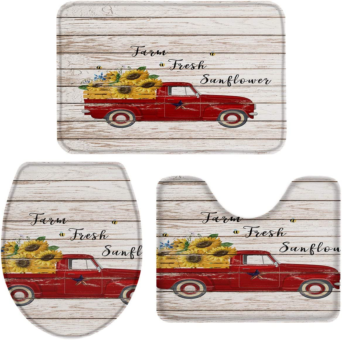 OneHoney 3-Piece Bath Rug and Mat Sets, Farm Fresh Sunflowers on Red Truck Non-Slip Bathroom Decor Doormat Runner Rugs, U-Shaped Toilet Floor Mats, Toilet Seat Cover Wooden Plank