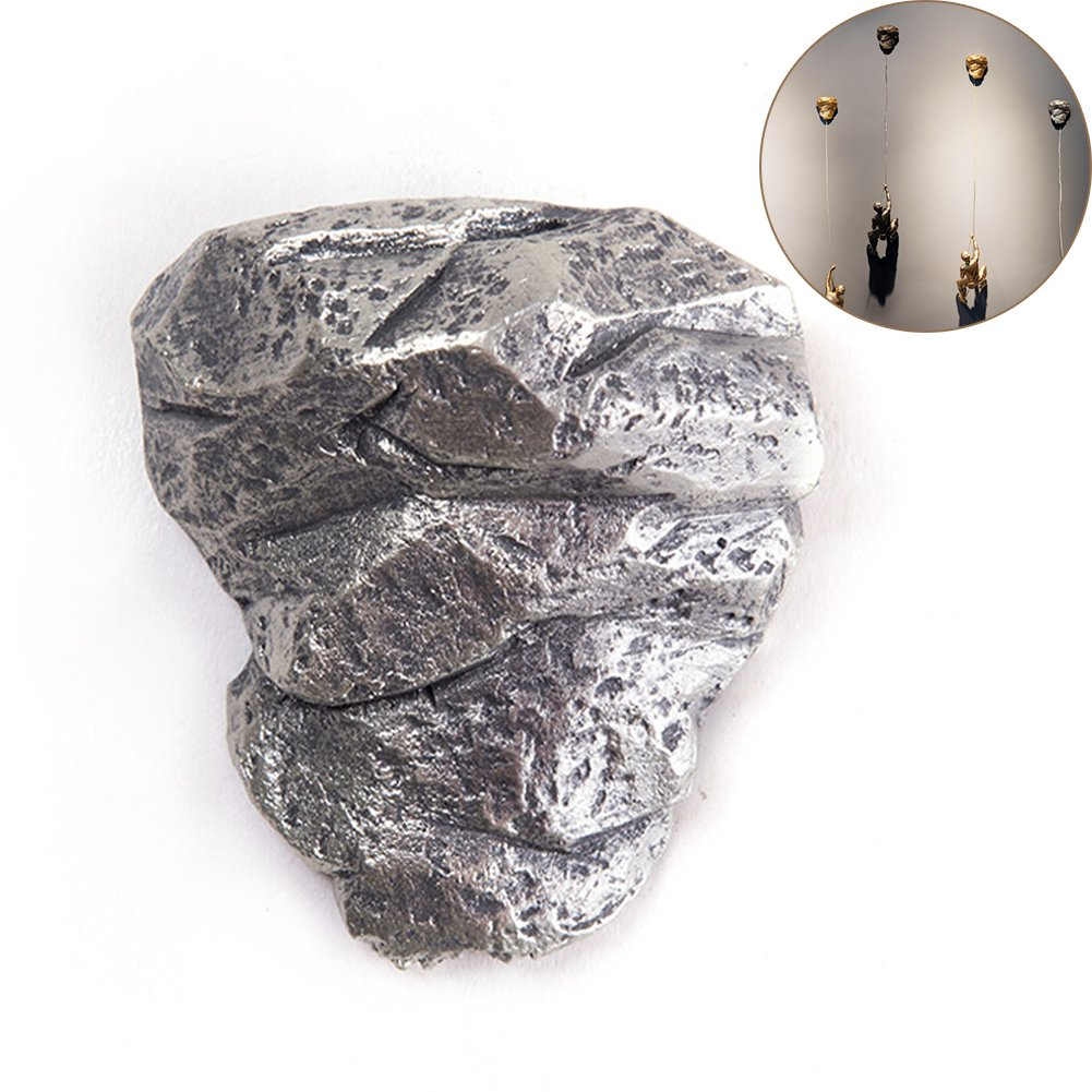 WINGOFFLY Upgraded Unique Design Resin Made Rock Stone for Climbing Man Wall Art Home Decor Sculpture(Silver Rock)