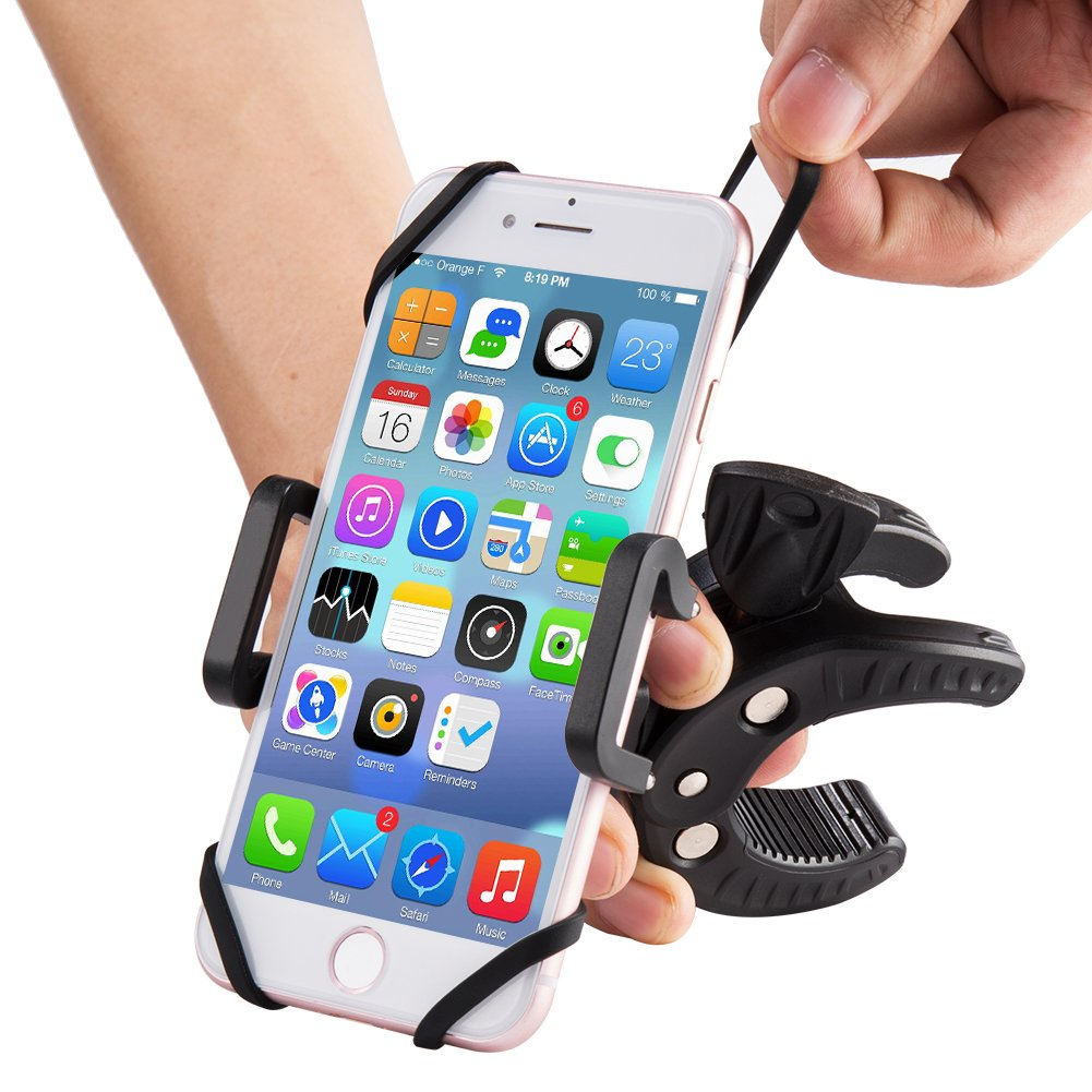 Bike & Motorcycle Phone Mount, Universal Mountain & Road Bicycle 360 Degree Handlebar Cradle Holder For iPhone 8 (5, 6s 6Plus, 7 7Plus,x), Samsung Galaxy or any Smartphone & GPS.(Black)