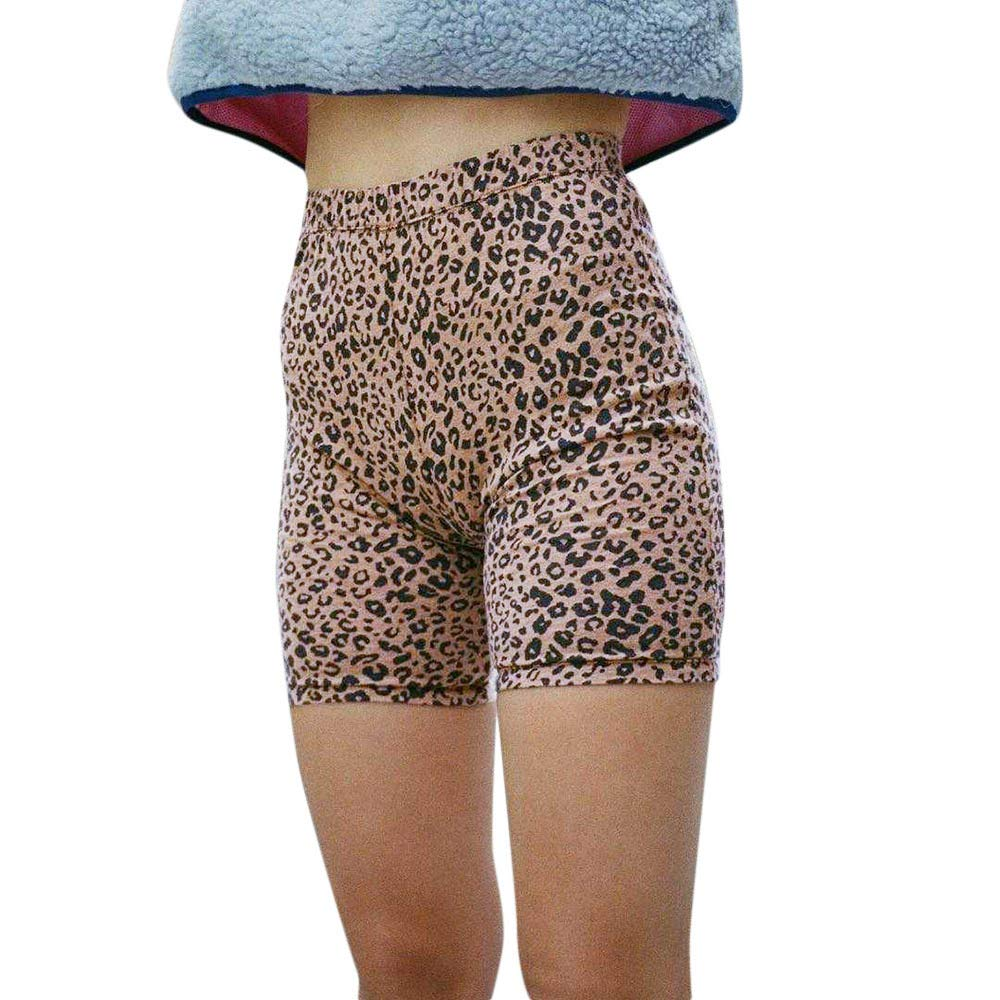 Meigeanfang Womens High Elasticity Short Pant Personality Leopard Printed Yoga Leggings Bottoming Shorts(Khaki,S)