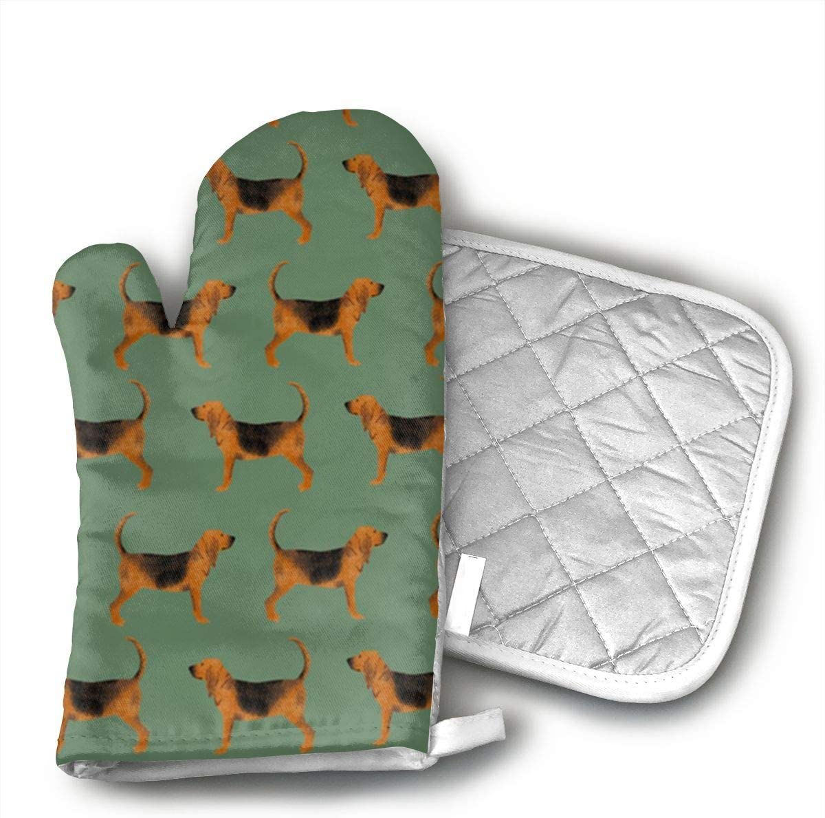 UYRHFS Green Bloodhound Fabric Oven Mitts and Pot Holder Kitchen Set with, Heat Resistant, Oven Gloves and Pot Holders 2pcs Set for BBQ Cooking Baking