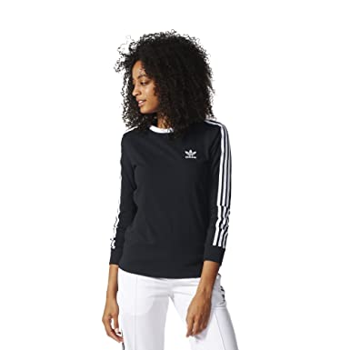 sports shoes 7d31a 2f3c0 adidas Originals Women s 3 Stripes Long sleeve Tee, Black, ...