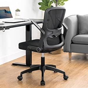 ComHoma Office Chair Ergonomic Mesh Desk Chair Swivel Mid Back Computer Chair Flip Up Arms with Lumbar Support Adjustable Height Task Chair Black