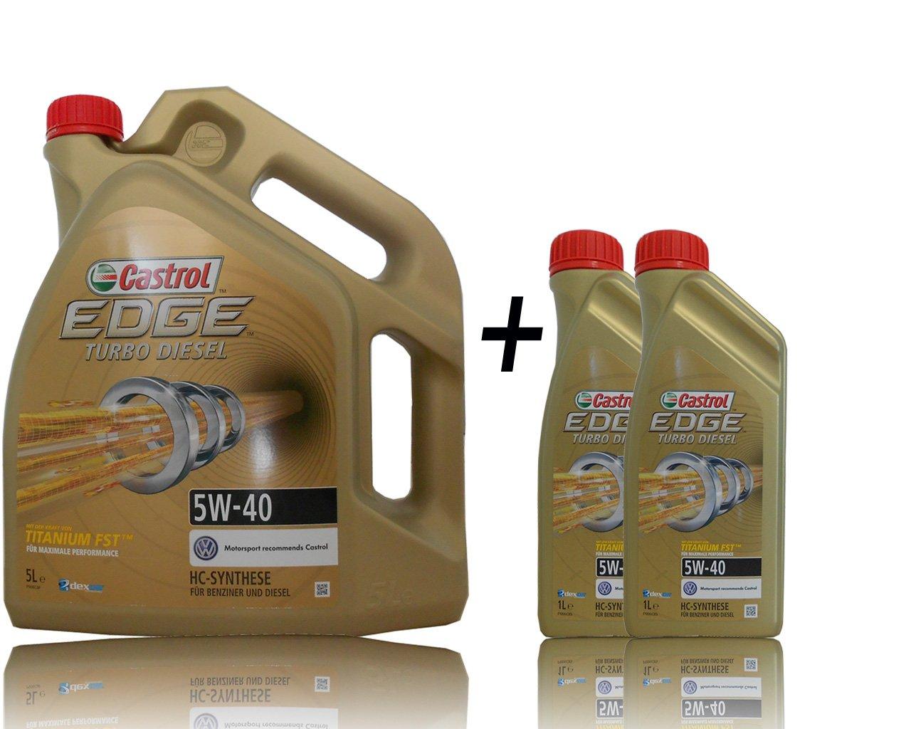 2 x 1 l + 5 l=7 litros Castrol Edge Titanium fsttm Turbo Diesel 5 W de 40 del motor de aceite motores de aceite Incluye Castrol ölwechsel de colgante; ...