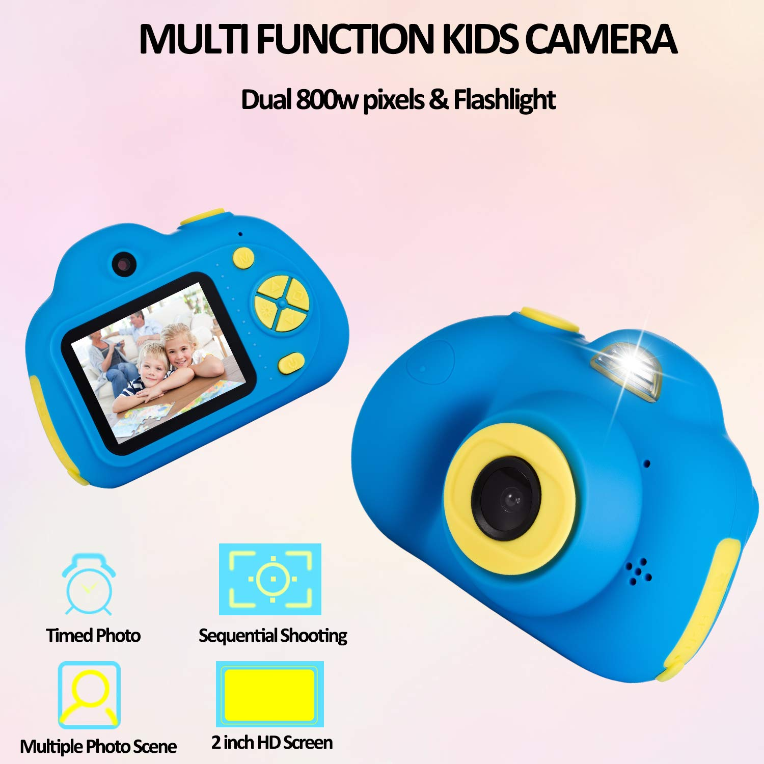 Deeteck Kids Video Camera for Girls Boys, 2 inch Mini Digital Camera,Shockproof Children Camcorders, Toys for 5-9 year old Boys Birthday Gifts with 16GB SD Card(Blue) by Deeteck (Image #2)
